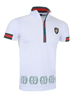 Gucci Men Lapel Polo Shirt with Zipper in White Top Selling