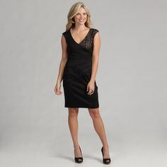 @Overstock.com - London Times Womens Solid Size 12 Ponte/Lave Dress - This little black dress form London Times is a perfect transition piece from day to dinner. A sunburst seam and lace bodice detail complements the V-neckline of this figure-flattering sheath dress.  http://www.overstock.com/Clothing-Shoes/London-Times-Womens-Solid-Size-12-Ponte-Lave-Dress/7385753/product.html?CID=214117 $36.99