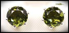 Moldavite Earrings 7mm Gemstones in .925 Silver Studs from InnerVision Crystals