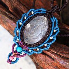 Macrame Necklace Pendant Carving Quartz Ganesh Ganesha Elephant Amulet Crystal #Handmade #Choker