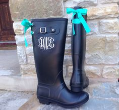 Size 7 please. Black+Matte+Boot+with+Tiffany+Blue+Custom+Bow+by+PuddlesNRainBows,+$78.00