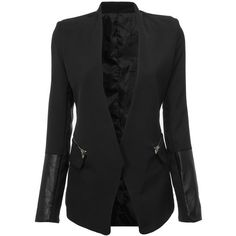 Yoins Yoins Black Blazer (€30) ❤ liked on Polyvore featuring outerwear, jackets, blazers, yoins, coats, black, black blazer and black jacket