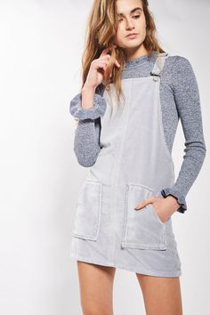 MOTO Dusty Lilac Velvet Pinafore Dress - New In- Topshop Europe