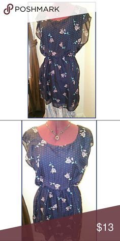 Floral Dress by City Triangles Floral Dress by City Triangles  Deep blue with coral flowers throughout. Key hole back with button. Elastic waist to cinch. Necklace sold separately. Please like or share. Rock'N Ship is a top 10% seller, we add new items every day. City Triangles Dresses