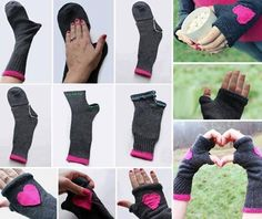 How to turn a pair of socks into some cute gloves?enjoy the cold days, and  I also want to have a long pair to protect my arms from sunscreen when I drive a car in summer, what do you think ?  Step by step --> http://wonderfuldiy.com/wonderful-diy-fingerless-gloves-from-socks/