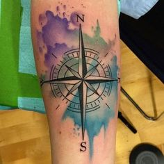 violet-green-and-blue-compass-tattoo-on-arm.jpg (500×500)