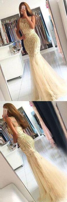 Sexy Tulle prom Dress,Mermaid Crew Sweep Train Prom
