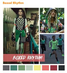 color report on Contemporary Activewear Mood: Boxed Rhythm. Color Trends 2018, Trend Fabrics, Fashion Forecasting, Active Wear For Women, Womens Fashion, Fashion Trends, Fashion Design, Clothes For Women, Fall 2018