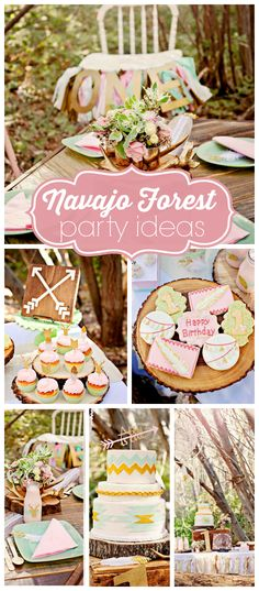 A dreamy Navajo girl birthday party in white, gold, green and pink with dream catchers and a tee-pee!  See more party planning ideas at CatchMyParty.com!