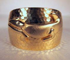 Gold Alligator Cuff!  Shiny Hammered Metallic Gator by dovetailchicago, $60.00