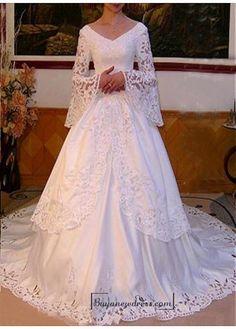 Beautiful Elegant Exquisite Satin V-neck Wedding Dress In Great Handwork - Buyanewdress.com