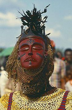 CONGO Festivals Masked dancer at Bapende Gungu Festival Zaire congo