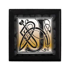 J Monogram Celtic Black Stone Decorative Box