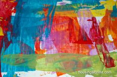 Credit Card Art.  Set out puddles of paint.  Have children dip card in paint then experiment with pulling the paint across the canvas