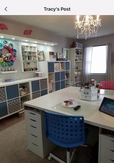 Flower paint storage top left of the pic. - Flower paint storage top left of the pic. Sewing Room Design, Craft Room Design, Craft Room Decor, Sewing Spaces, Craft Room Storage, Organizing Sewing Rooms, Craft Room Lighting, Basement Craft Rooms, Paper Storage