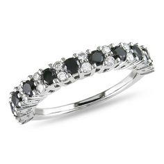 1.00 CT. T.W. Enhanced Black and White Diamond Band in 14K White Gold  - Peoples Jewellers