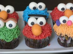 These were cupcakes I made for my son's birthday party. They were basic chocolate cupcakes with tinted vanilla buttercream and fondant features. Monster Birthday Parties, Elmo Party, Elmo Birthday, Toy Story Birthday, Baby First Birthday, 2nd Birthday Parties, Birthday Ideas, Elmo Cupcakes, Cupcakes For Boys