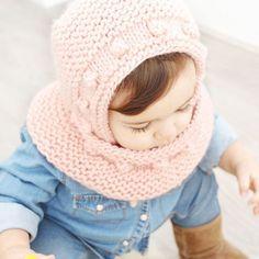 Capota de bebé a punto bobo – Tutorial y Patrón – - Crochet Cap, Crochet Wool, Knitting For Kids, Baby Knitting, Knitted Baby, Mei Tai, Bonnet Pattern, Hood Pattern, Crochet Mandala Pattern