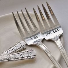 Personalized Vintage Wedding Cake Fork Set by jessicaNdesigns on Etsy