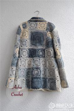 Crochet Pattern For A Baby Dress Fashion Nova Navy Dress! Crochet Coat, Crochet Jacket, Crochet Cardigan, Crochet Clothes, Knitting Patterns, Crochet Patterns, Mode Crochet, Crochet Squares, Granny Squares