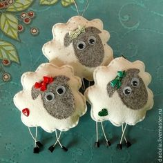 Felt sheep ornaments