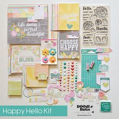 This large versatile paper crafting collection is great for making anything from personalized greeting cards to fun scrapbooking pages, both pocket and traditional. Brighten up your day with a bright