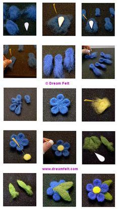 Sueño fieltro Estudio: Aguja de fieltro Pin de la flor Tutorial