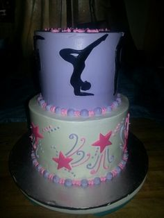 one of my friends cake Dance Birthday Cake, Gymnastics Birthday Cakes, 12th Birthday Cake, Gymnastics Party, Cupcakes, Cupcake Cakes, Gym Cake, Pool Party Cakes, Decoration Patisserie