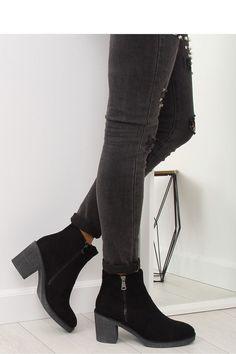 Μποτάκια με τακούνι και φερμουάρ στο πλάι - Μαύρο. Fashion e-Shop f8b08bb2b50