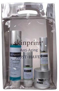 """Anti-Aging Must-Haves set. Contains 1) Purifying Cleanser which is a facial cleanser that removes dirt and oil from the skin to prepare it for active ingredients; 2) Rescue serum that """"ACTIVATES"""" the skin to produce """"Youth Cells"""" that signal the skin to fully rejuvenate; 3) EYEdyllic - hydrates and activates; Repair & Restorative will provide a fully moisturized and healthy skin. #skinprint #antiaging #giftset #intelligentscincare"""
