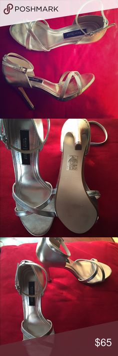Silver ankle strap heels Silver with ankle strap. No platform. White House Black Market Shoes Heels