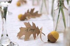 10 idées de marques-places pour coller à l'univers d'un joli mariage d'automne