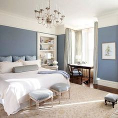 Bedroom Designs. The Excellent Design Of The Blue And Gray Bedroom With The Best Bedroom Decoration: The Sweet Design Of The Blue Grey Bedroom Decorating Ideas With White Chandelier On White Roof Also The White And Blue Quilt Bed On White Carpet On Lamina #gray bedroom furniture
