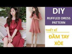 DIY Ruffled Dress Pattern | Thiết kế đầm tay xòe - YouTube Diy Dress, Ruffle Dress, Ruffles, Sew Off Shoulder Top, Diy Clothing, Sewing Clothes, Recycled Dress, Paper Fashion, Recycled Fashion