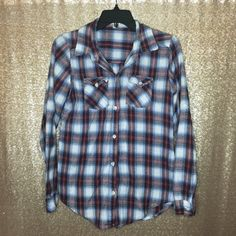 Cranberry and Blue Flannel Long sleeve button down flannel. Super soft, worn in. Pre-loved but has life left and is perfect for grunge looks. Tag says large but it's definitely a medium.  Offer Button ONLY. NO TRADES, Ⓜ or ️️. 10% off bundles! Marisol Tops Button Down Shirts