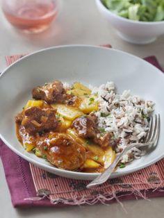 poivre, veau, ciboulette, mangue, concentré de tomate, oignon, fond de veau, sel