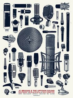 Mics are pretty! Jc Brooks And The Uptown Sound Nam June Paik, Singer Songwriter, Design Art, Web Design, Music Studio Room, Recording Studio Home, Gig Poster, Recorder Music, Sound Design