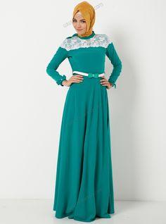 Omuzları Fiyonklu Uzun Elbise 4073 - Yeşil - Modaysa