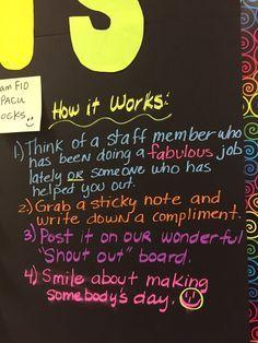 employee appreciation ideas Love the Staff Shout Out Board on Teacher Morale, Employee Morale, Staff Morale, Team Morale, Employee Appreciation Gifts, Teacher Appreciation Week, Volunteer Appreciation, Volunteer Gifts, Teacher Gifts