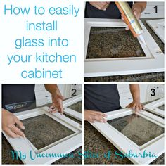 to add glass inserts into your kitchen cabinets How to: install glass into your kitchen cabinet - Diy kitchen.How to: install glass into your kitchen cabinet - Diy kitchen. Diy Kitchen Cabinets, Kitchen Redo, New Kitchen, Kitchen Ideas, Glass Kitchen Cabinet Doors, Corner Cabinets, Kitchen Styling, Glass Door, Kitchen Island