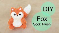 Super baby onesies animal step by step ideas Fox Stuffed Animal, Stuffed Animal Patterns, Diy Stuffed Animals, Pom Pom Animals, Sock Animals, Clay Animals, Fox Crafts, Rabbit Crafts, Sock Dolls