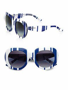 Dolce & Gabbana Thick Striped Plastic Oversized Round Sunglasses