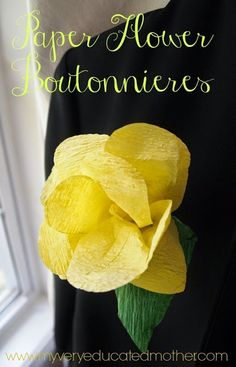 DIY Wedding: How to make a paper flower boutonniere! (Great tutorial includes short video too!)