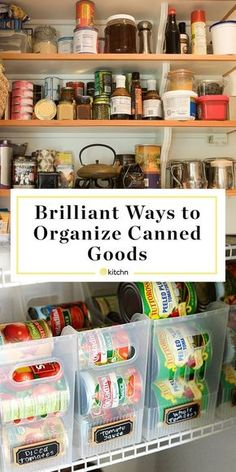 Ideas For Organizing Canned Goods. Pantry organization can be hard whether you'v… Ideas For Organizing Canned Goods. Pantry organization can be hard whether you've got a small one or a walk in one with deep shelves. These DIY tips for food storage will ma Food Storage Shelves, Pantry Shelving, Pantry Storage, Kitchen Storage, Storage Ideas, Smart Storage, Diy Storage, Storage Solutions, Storage Buckets