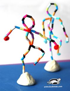 Bead or colored straw sculpture forms | human form | figure art |