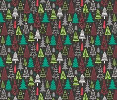 Christmas Forest Trees on Black fabric by caja_design on Spoonflower - custom fabric