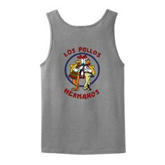 Los Pollos Hermanos Chickn Brothers Chicken Bros TANK TOP Breaking Bad AMC TV Show Full Color Wife Beater Tank Top Tee Large Sport Grey