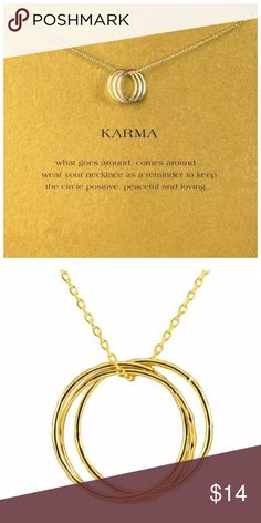 "DF11 18K Gold Dipped 3 Circle Karma Necklace Card ‼️ PRICE FIRM UNLESS BUNDLED WITH OTHER ITEMS FROM MY CLOSET ‼️   3 Circle Karma Necklace & Card  Retail $29  FANTASTIC GIFT!! Beautiful & dainty.  This is sure to dress up even the most basic outfit! Necklace is approximately 19"". Please check my closet for many more items including designer clothing, scarves and much more. Jewelry"