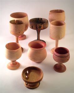 Family of Goblets: Some of my earliest work on the lathe. Different species of wood - Spalted Maple, Sycamore, Pepper Tree. To see more of my Woodturning visit www.carmendelapaz.com