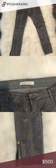 Pierre balmain wax denim Nice grey wax denim with zippers at the bottom of the leg. Motorcycle design influence Pierre Balmain Pants Skinny